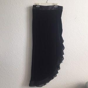 90s Vintage Ruffle Velvet Skirt